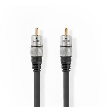 Cablu audio digital Nedis RCA tata - RCA tata 1.5 m, antracit