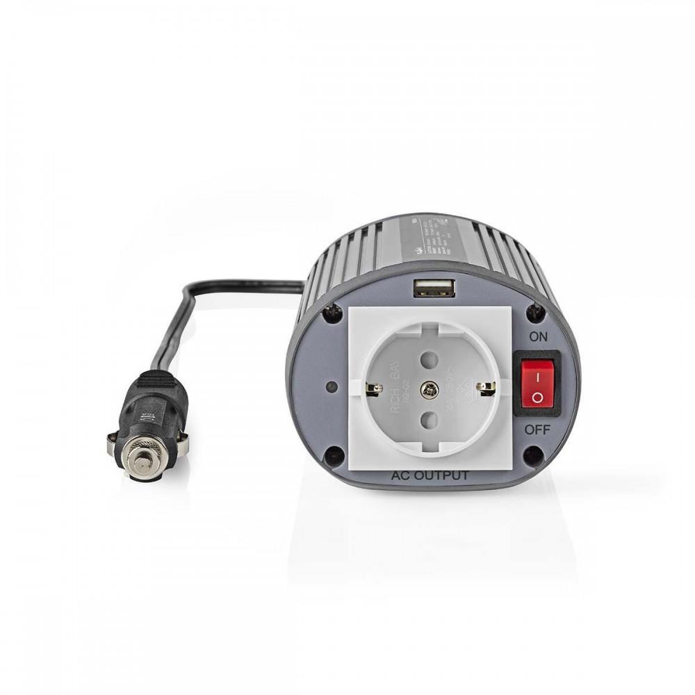 Invertor tensiune cu unda sinusoidala modificata Nedis, 24V DC - 230V AC, 150W, 1x Schuko, 1x USB
