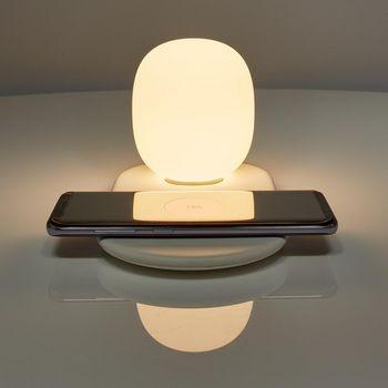 Lampa de veghe LED cu control tactil, incarcator wireless Qi pentru smartphone, 10W, Nedis