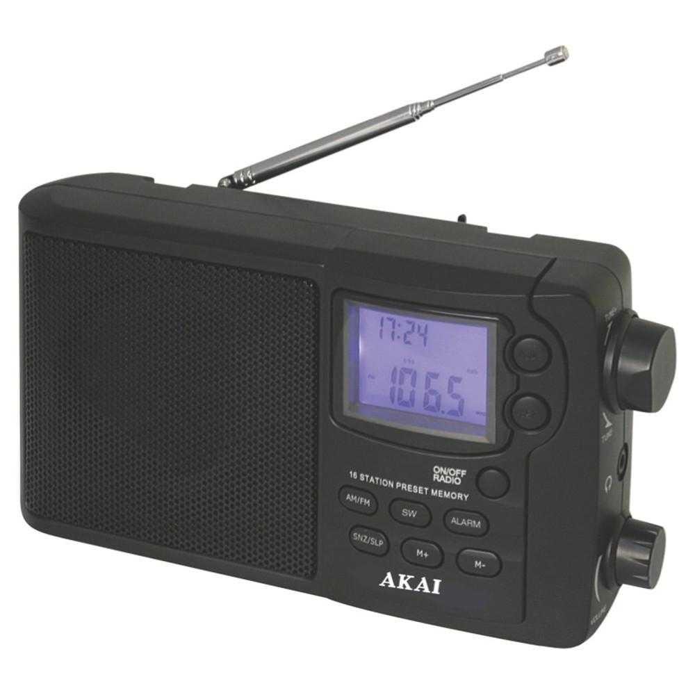 Radio portabil Akai APR-2418, 0.8W RMS, Ceas, Alarma, Negru