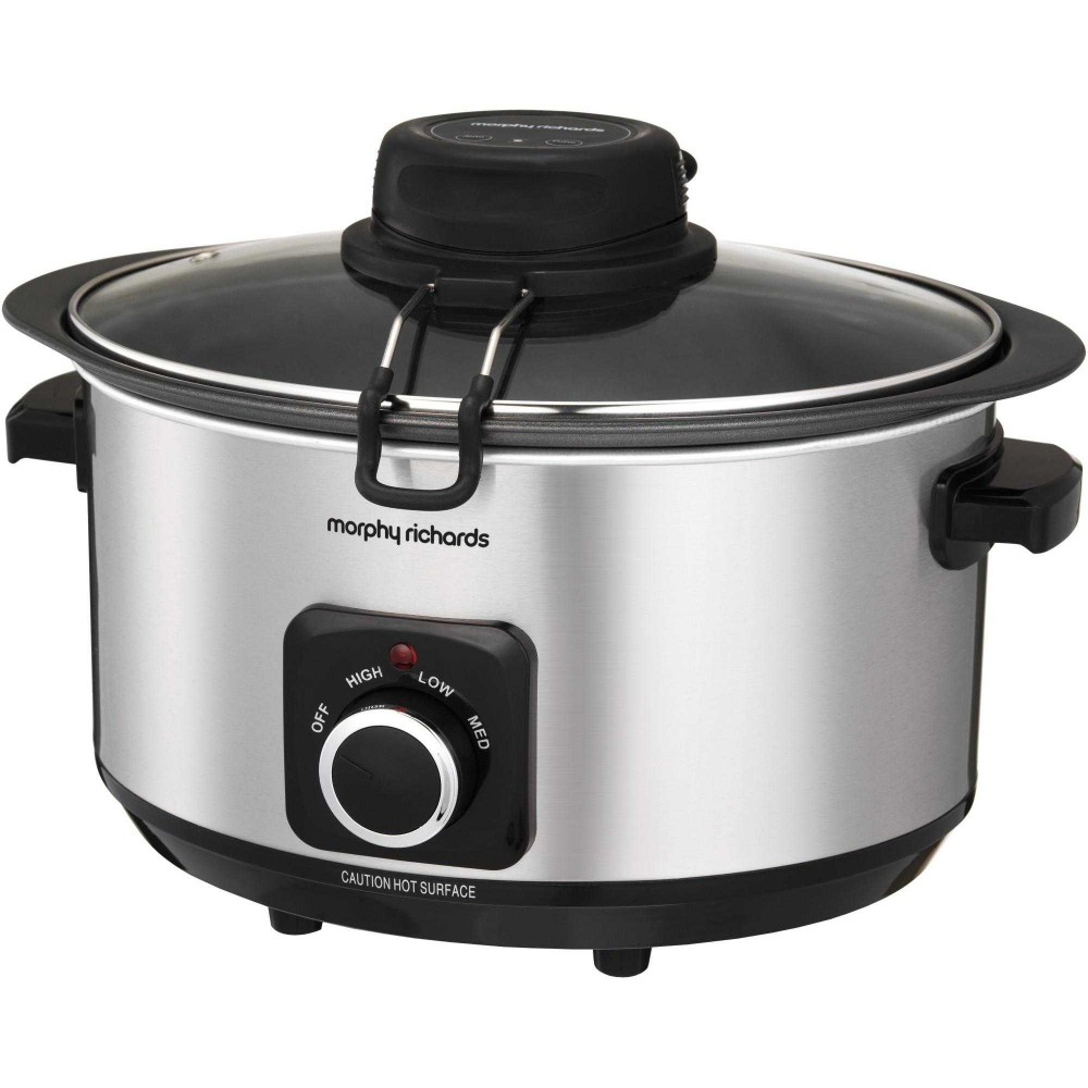 Slow cooker Morphy Richards Auto Stir 461010, 6.5 l, Argintiu