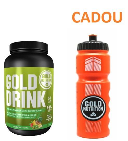 Bautura Hidratanta, Sportivi, Gold Drink Tropical, 1 kg + Recipient Sport, Pentru Apa, 800 ML CADOU