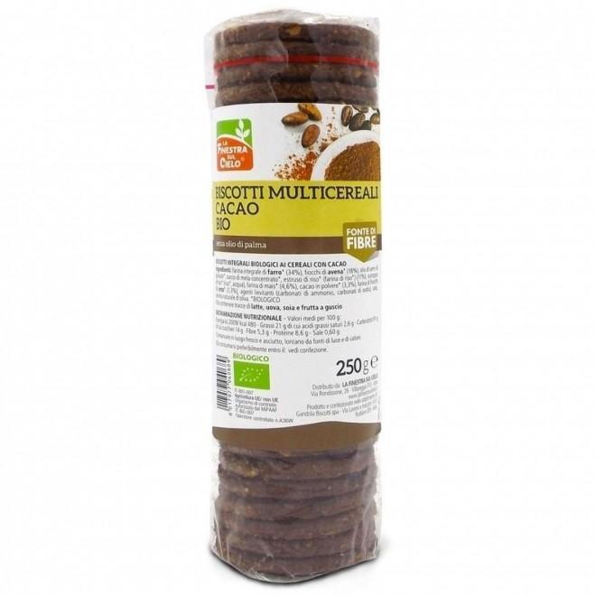 Biscuiti bio cu multicereale si cacao, La Finestra sul Cielo, 250 g