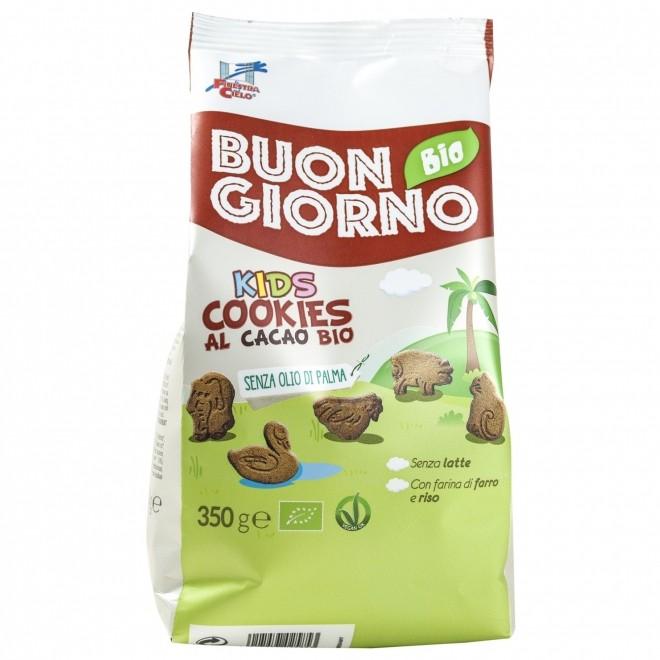 Biscuiti vegani Buongiorno Bio Kids din spelta, orez si cacao, La Finestra sul Cielo, 350 g