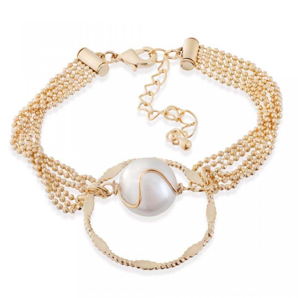 Bratara placata cu aur Round Pearl