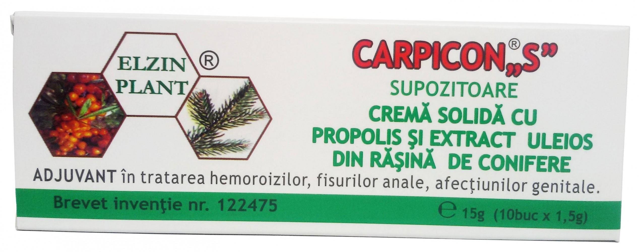 Carpicon S, Supozitoare cu Propolis, Extract Uleios din Rasina de Confiere, 15g