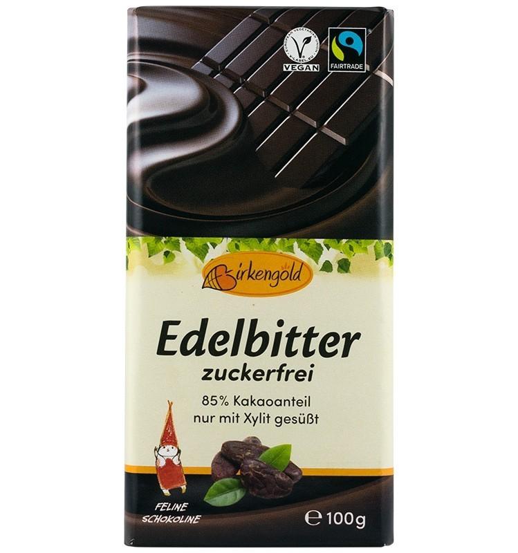 Ciocolata 85% Cacao indulcita cu Xylitol Birkengold - 100 g