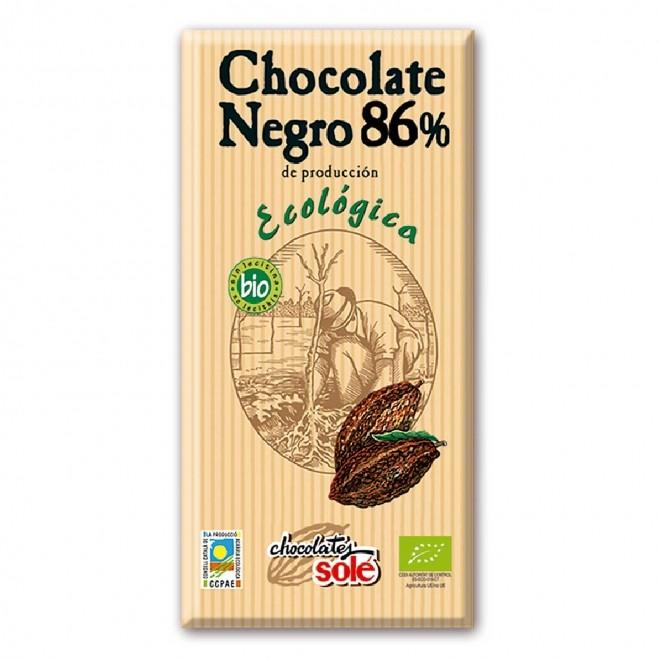 Ciocolata Bio neagra, 86% cacao, Sole, 100 g