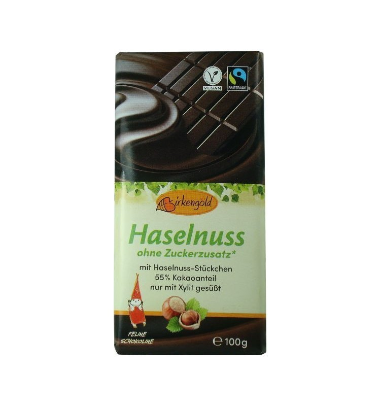 Ciocolata Neagra cu Alune fara adaos de Zahar  55% Cacao Birkengold - 100 g