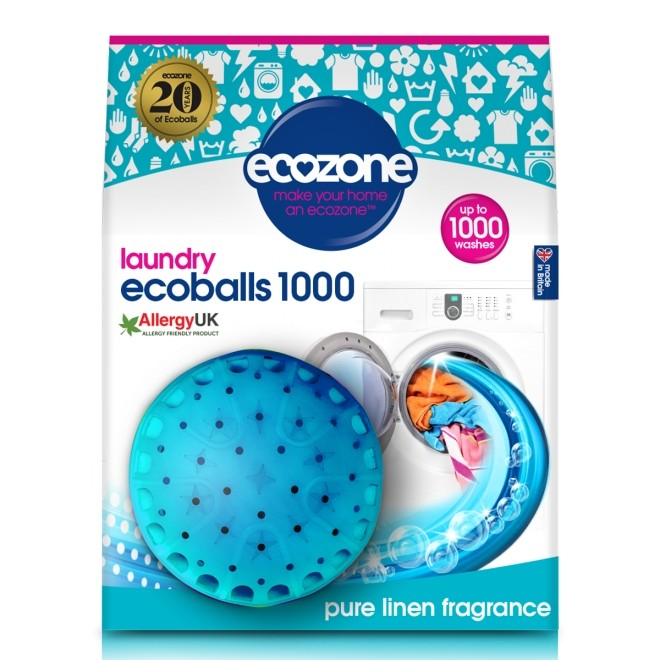 Ecoballs – Bile eco pt.spalarea rufelor, cu parfum de in, 1000 spalari, Ecozone