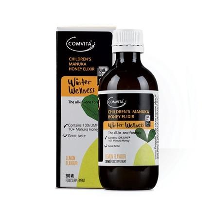 Elixir pentru copii cu miere de Manuka UMF 10+ si lamaie, 200 ml, Comvita