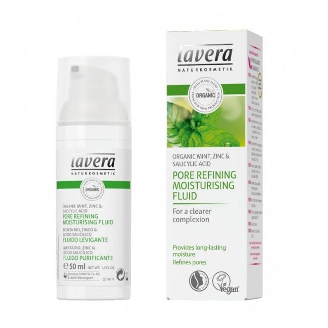 Fluid hidratant pentru inchiderea porilor & ten gras, cu menta, zinc si acid salicilic, Lavera, 50 ml