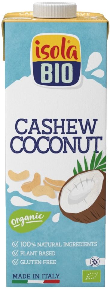 Lapte vegetal bio din nuci caju si cocos, fara gluten, Isola Bio 1 L