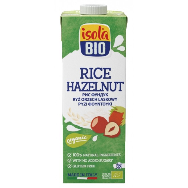 Lapte vegetal bio din orez cu alune, fara gluten, Isola Bio, 1 L