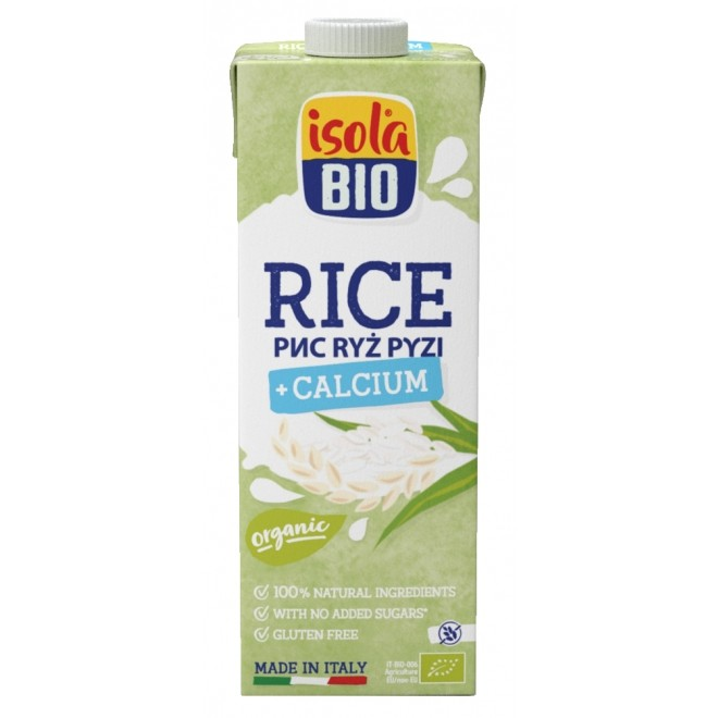 Lapte vegetal bio din orez cu calciu, fara gluten, fara lactoza, Isola Bio, 1 L