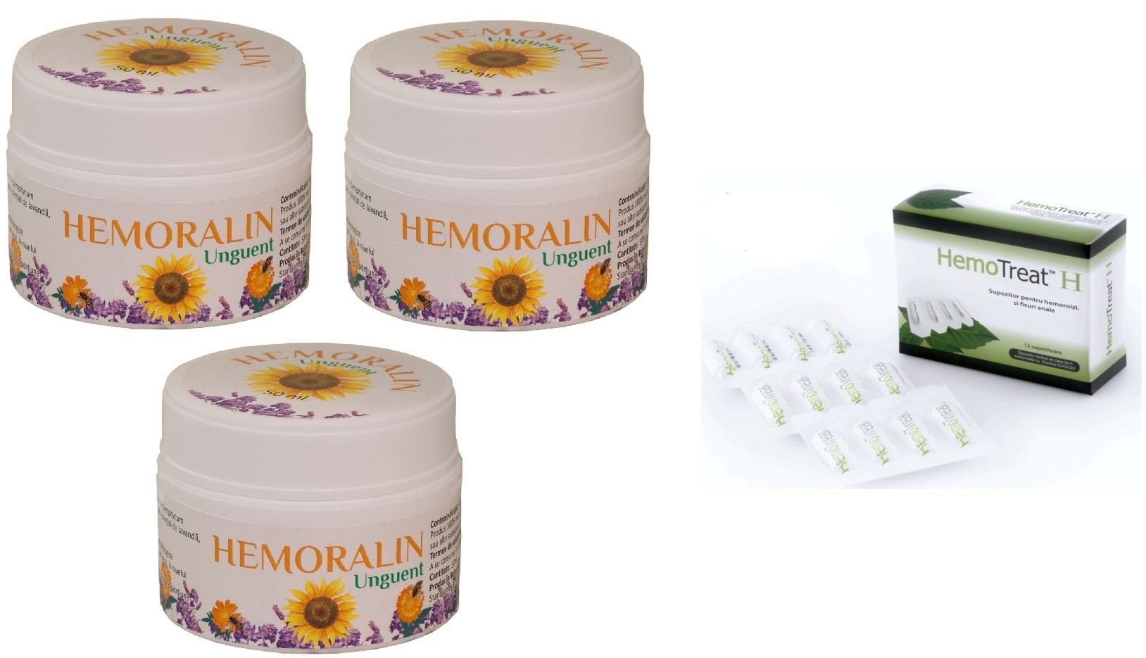 Oferta Hemoralin 3 Bucati + HemoTreat H 12 supozitoare