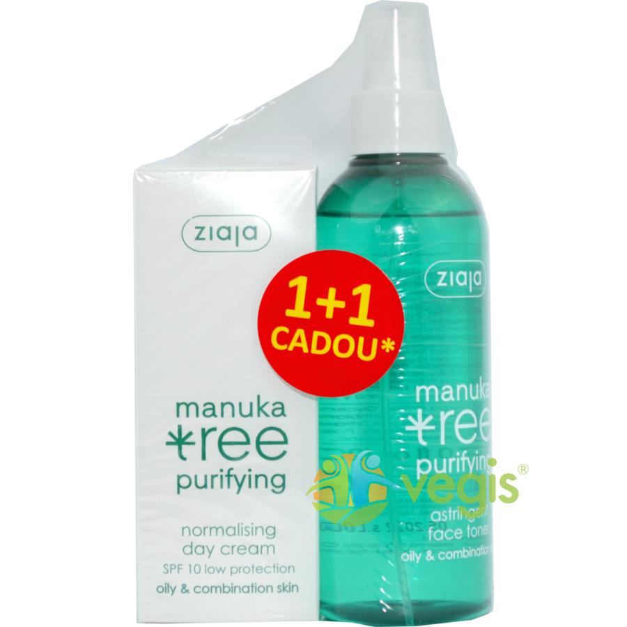 Pachet 1+1 Extract din Frunze de Manuka: Crema De Zi Normalizatoare SPF10 50ml + Lotiune Tonica Astringenta 200ml Gratis