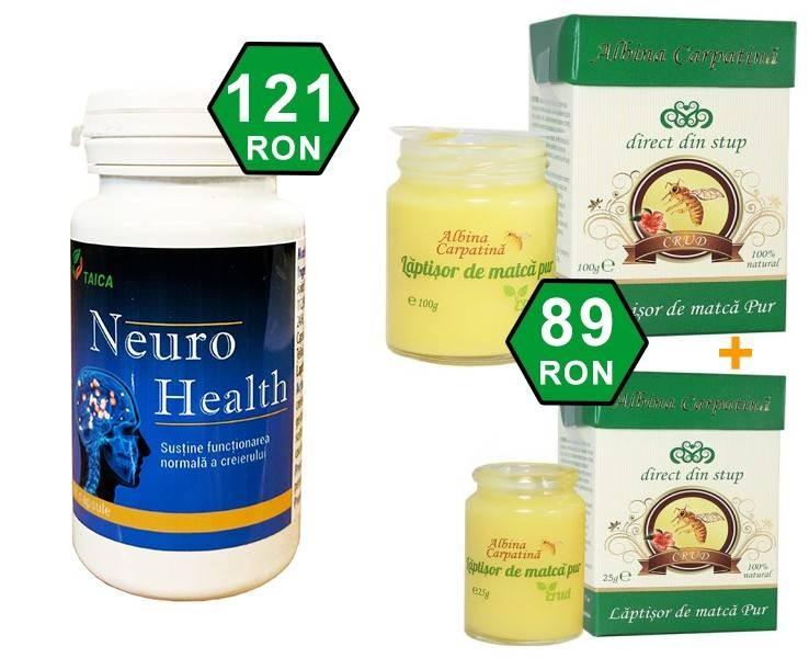Pachet Neuro Health + Laptisor de Matca 100 g + 25 g GRATIS