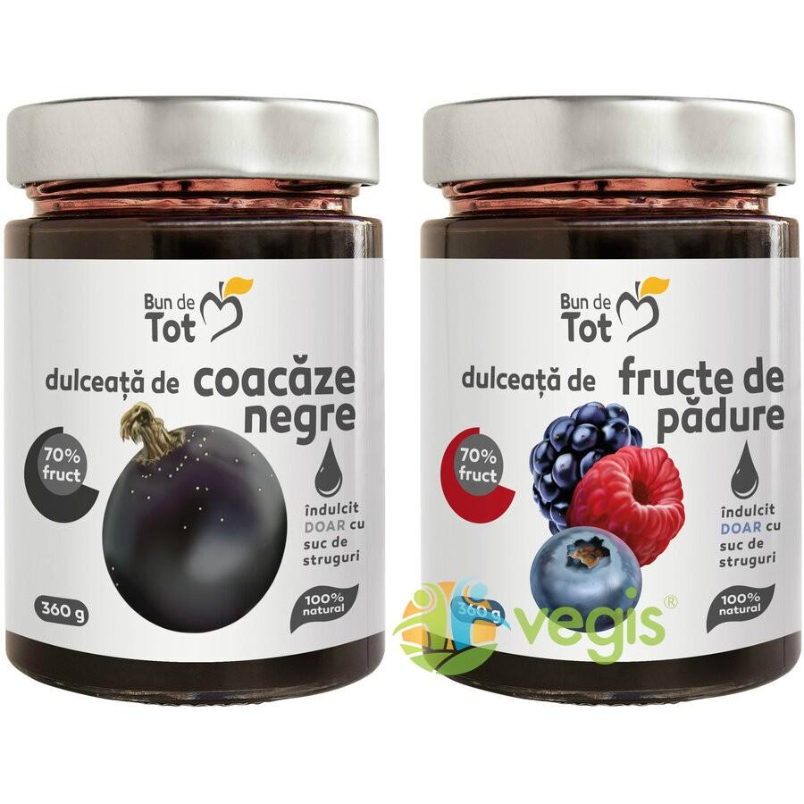 Pachet Promo Dulceata Din Coacaze Negre Fara Zahar 360g + Dulceata Din Fructe De Padure Fara Zahar 360g