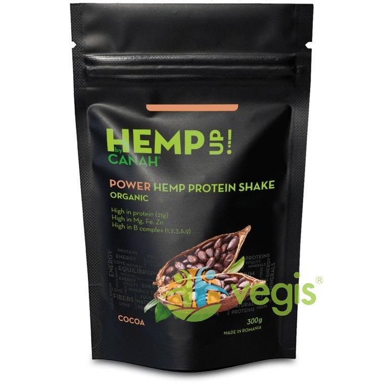 POWER Shake Proteic de Canepa si Cacao Hemp Up Ecologic/Bio 300g