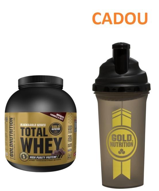 Pudra Proteica, Total Whey Protein, Ciocolata, 2 Kg + Shaker, 700 ML CADOU