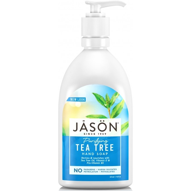 Sapun lichid Jason pentru fata si maini cu tea tree - antibacterian, 473 ml