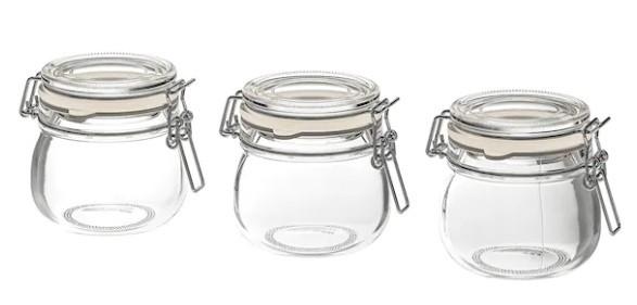 Set 3 Borcane cu Capac din Sticla Transparenta