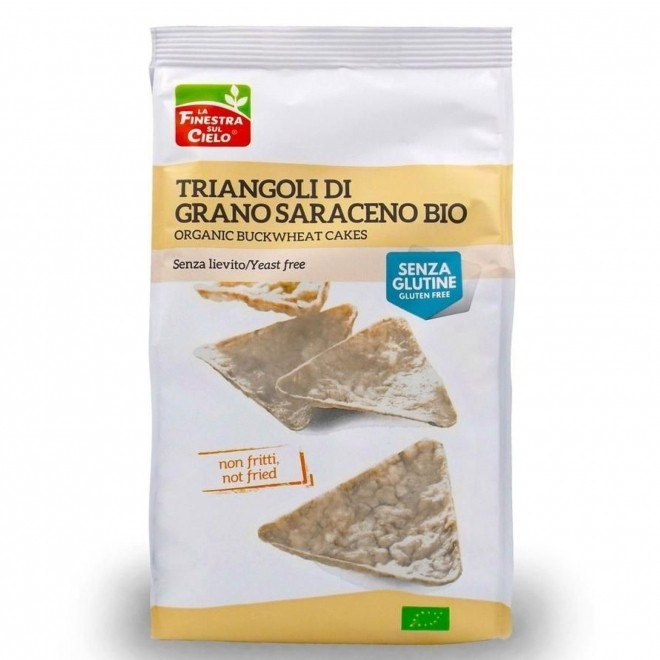 Snack bio triunghiular din hrisca (fara gluten, fara drojdie, neprajit, vegan), La finestra sul Cielo, 100 g