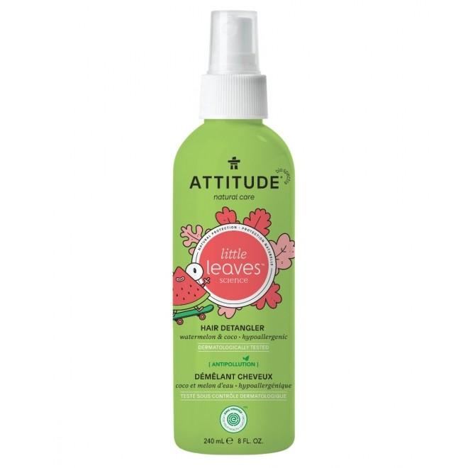 Spray Baby Leaves pentru descurcarea parului copiilor, pepene si cocos, Attitude, 240 ml