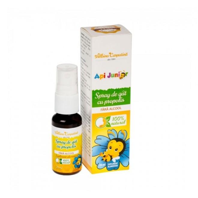Spray de gat, ApiJunior, cu propolis, fara alcool, Albina Carpatina, 20 ml