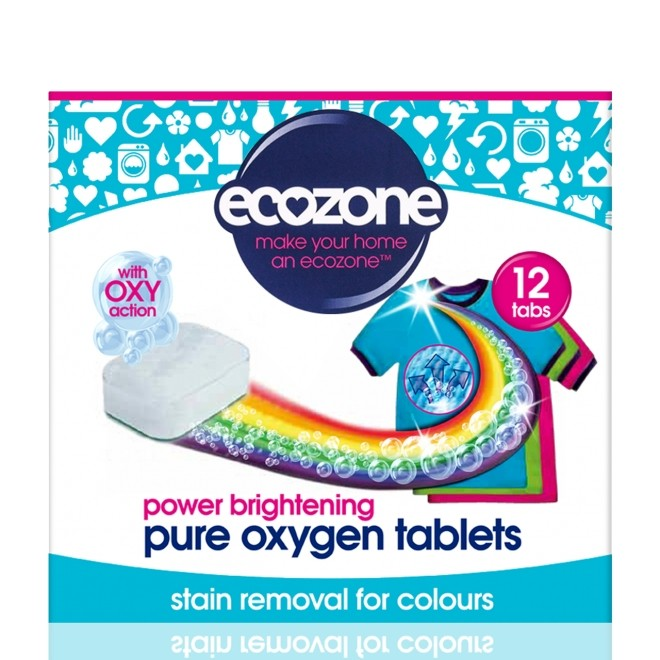 Tablete pe baza de oxigen activ pentru stralucirea hainelor, mentinerea culorii si indepartarea petelor, Ecozone, 12 buc