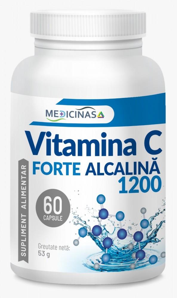 Vitamina C Forte, Alcalina, 1200 Mg, 60 cps, Cea mai puternica Vitamina C