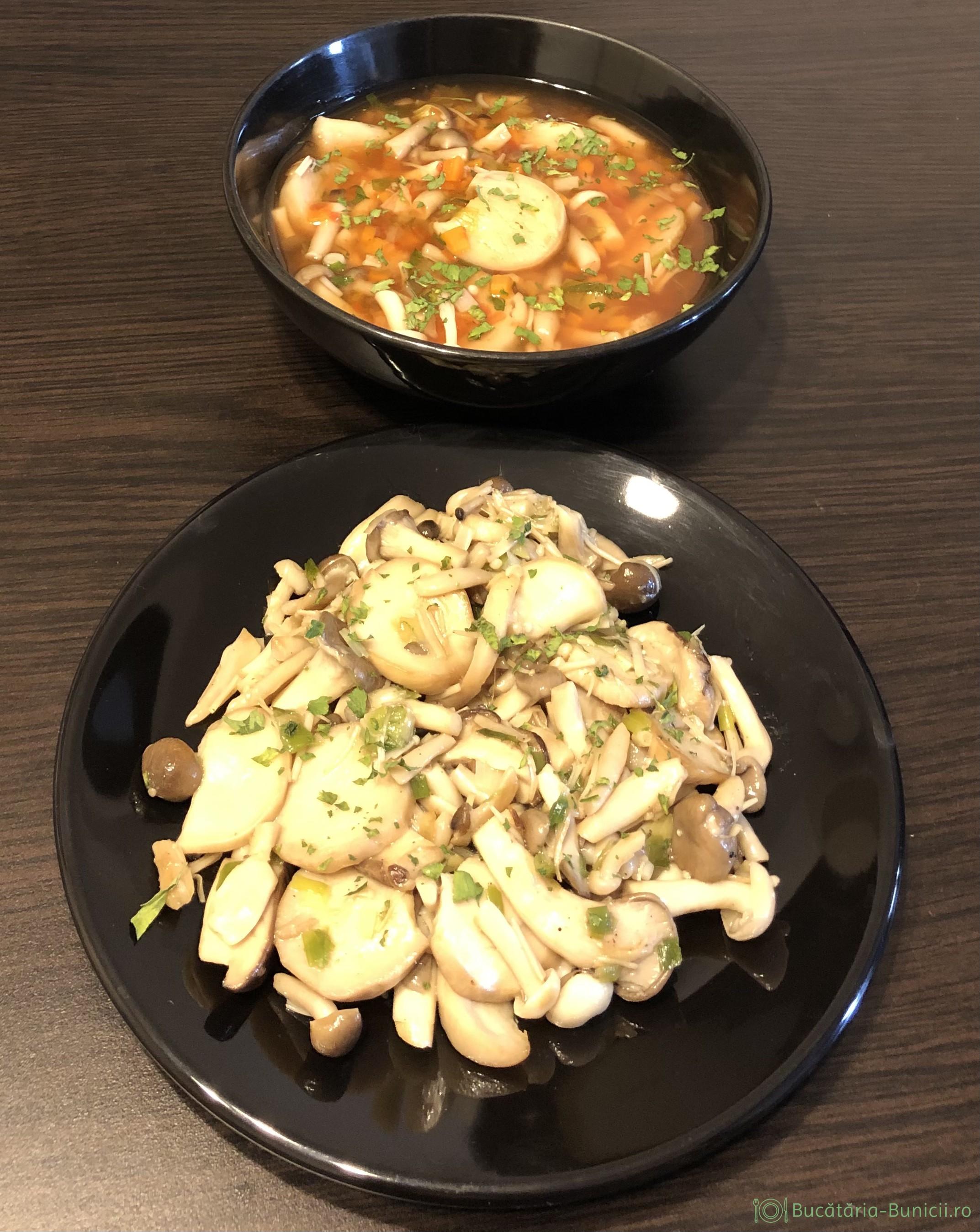 Amestec de ciuperci, sotate și ciorba
